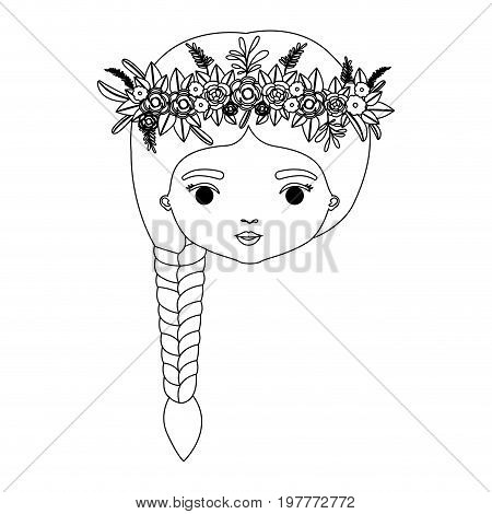 monochrome silhouette of caricature front view face woman with braid hairstyle and crown decorate with flowers vector illustration