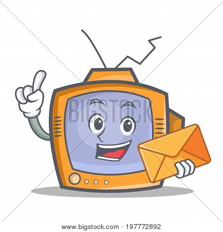 TV character cartoon object with envelope vector illustration