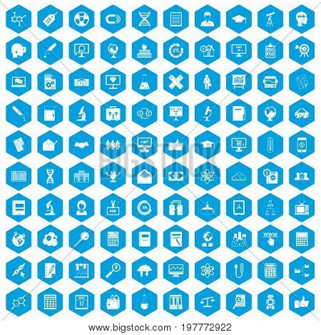 100 analytics icons set in blue hexagon isolated vector illustration