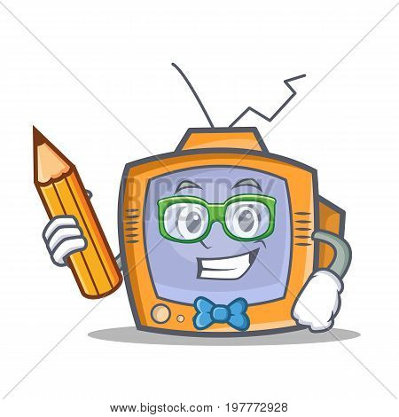 Student TV character cartoon object with pencil vector illustration