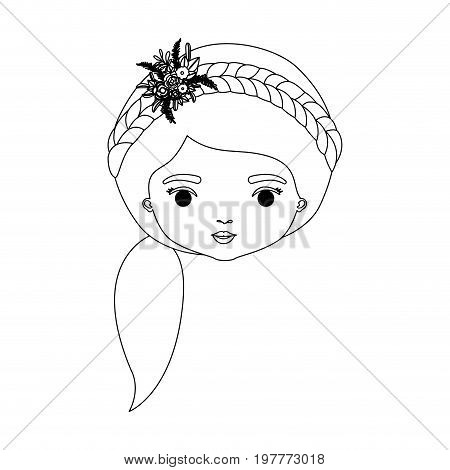 monochrome silhouette of caricature front view face woman with side ponytail hairstyle and braid crown decorate with flowers vector illustration