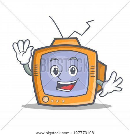 Waving TV character cartoon object vector illustration
