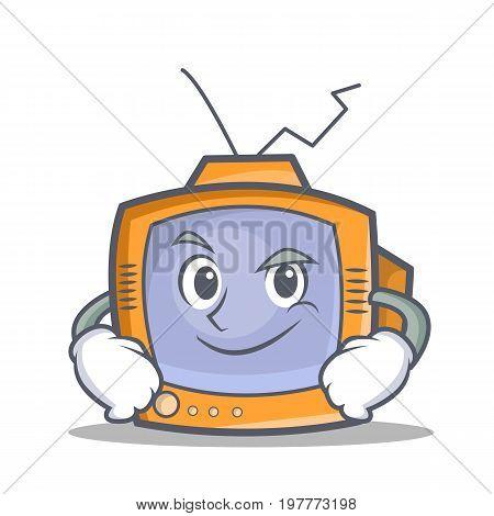 Smirking TV character cartoon object vector illustration