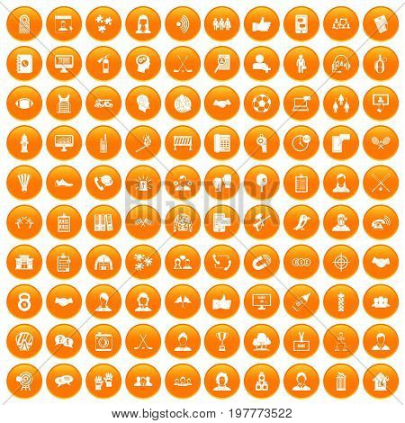 100 team icons set in orange circle isolated vector illustration