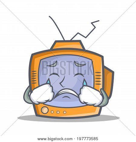 Crying TV character cartoon object vector illustration