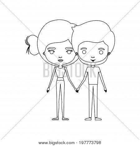 monochrome silhouette of caricature couple standing and both with pants and her with bun hair and him with beard vector illustration
