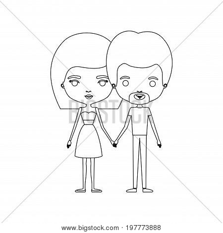 monochrome silhouette of caricature couple standing and him with short hair and van dyke beard and her with skirt and mushroom hairstyle vector illustration
