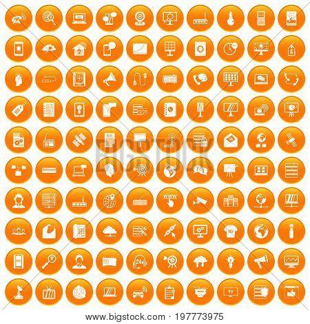 100 telecommunication icons set in orange circle isolated vector illustration