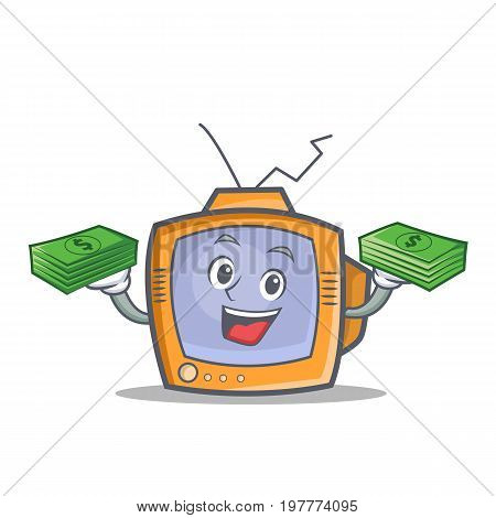 TV character cartoon object with money vector illustration