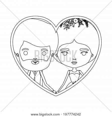 monochrome silhouette heart shape portrait caricature of newly married couple bearded groom with formal wear and bride with bun hairstyle vector illustration