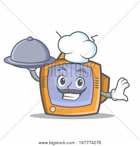 Chef TV character cartoon object with food vector illustration