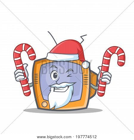 Santa TV character cartoon object with candy vector illustration