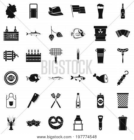 Cold beer icons set. Simple style of 36 cold beer vector icons for web isolated on white background