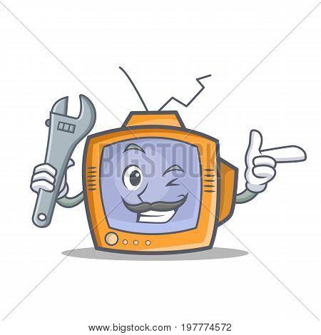 Mechanic TV character cartoon object vector illustration