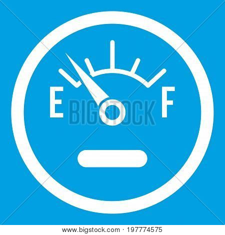Fuel sensor icon white isolated on blue background vector illustration