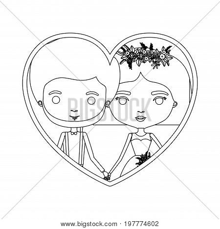 monochrome silhouette heart shape portrait caricature of newly married couple groom with formal wear and bride with straight short hairstyle vector illustration