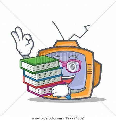 Student TV character cartoon object with book vector illustration