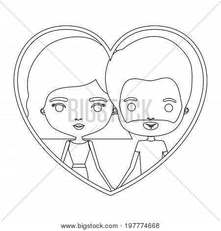 monochrome silhouette heart shape portrait caricature with couple and him with short hair and beard and her with wavy short hairstyle vector illustration