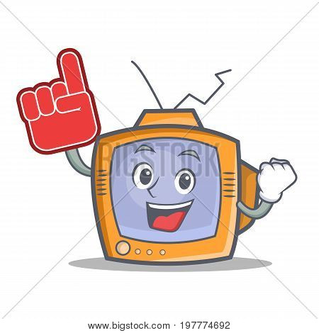 TV character cartoon object with foam finger vector art