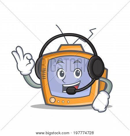 TV character cartoon object with headphone vector art