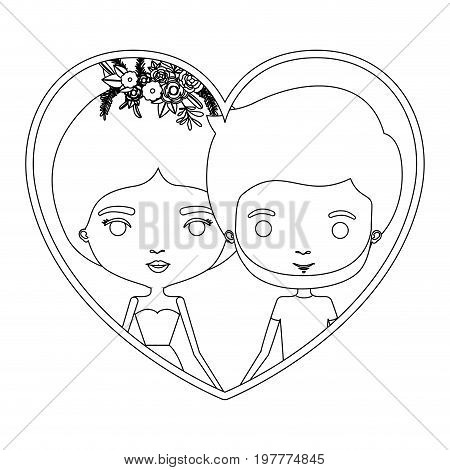 monochrome silhouette heart shape portrait caricature with couple and her in dress with collected hair and floral crown and him bearded vector illustration