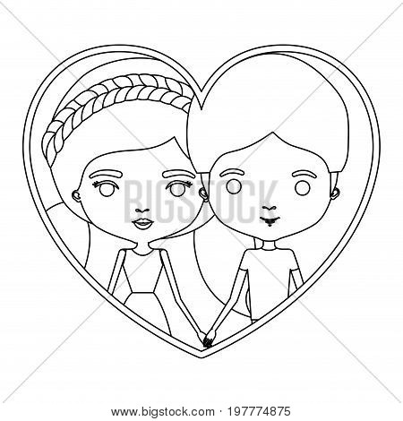 monochrome silhouette heart shape portrait caricature with couple and her with dress and pigtails hairstyle and him with short hair vector illustration
