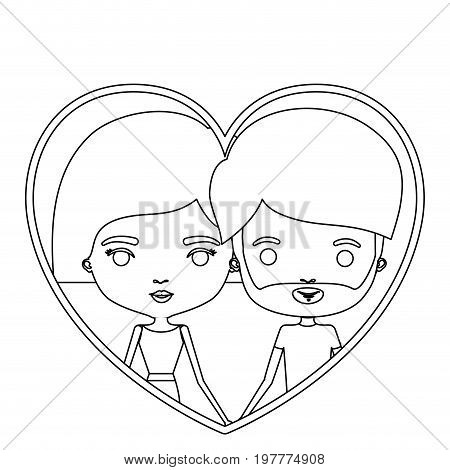 monochrome silhouette heart shape portrait caricature with couple and her with short hair and him with beard vector illustration