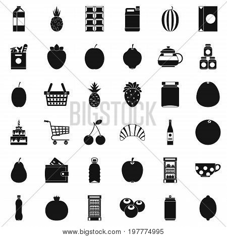Different beverage icons set. Simple style of 36 different beverage vector icons for web isolated on white background