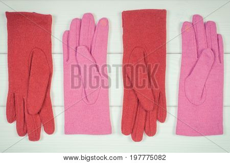 Vintage Photo, Woolen Womanly Gloves On Boards, Clothing For Autumn Or Winter