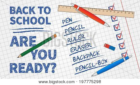 Back to school vector illustration. Line art banner Back to school with list of stationery elements: pencil pen ruler staple and exercise book background. Graphic design template.