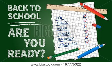 Back to school vector illustration. Line art banner Back to school with list of stationery elements: pencil pen ruler staple. Dark green chalk board template graphic design.