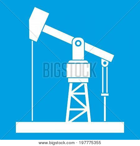 Oil pump icon white isolated on blue background vector illustration