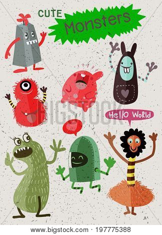 Cute Cartoon Monsters,vector Cute Monsters Set Collection Isolated
