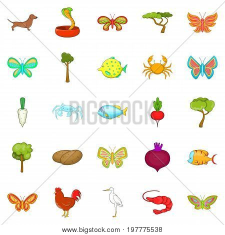 Flower insects icons set. Cartoon set of 25 flower insects vector icons for web isolated on white background