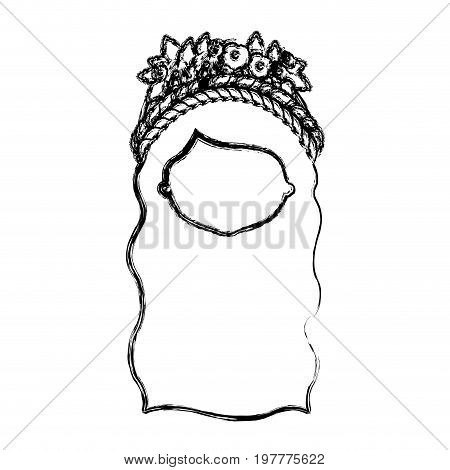 monochrome blurred silhouette of caricature faceless woman with wavy long hairstyle and braid crown decorate with flowers vector illustration