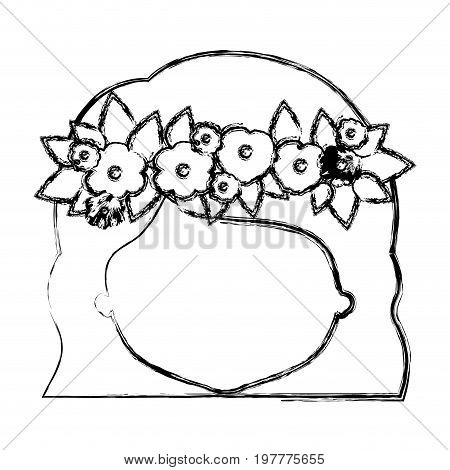 monochrome blurred silhouette of caricature faceless woman with wavy short hairstyle and crown decorate with flowers vector illustration