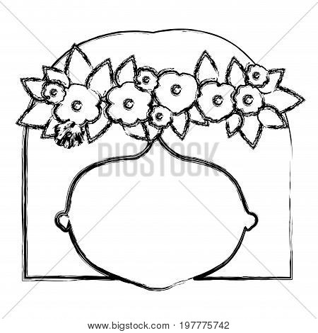 monochrome blurred silhouette of caricature faceless woman with straigh short hairstyle and crown decorate with flowers vector illustration
