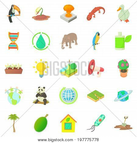 Biology icons set. Cartoon set of 25 biology vector icons for web isolated on white background