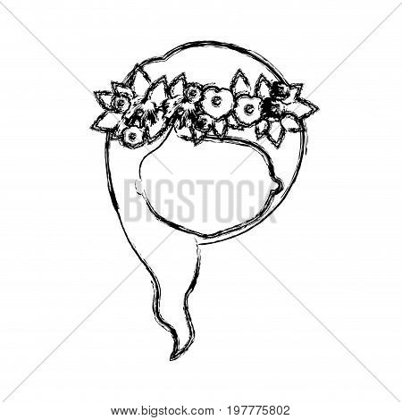 monochrome blurred silhouette of caricature faceless woman with wavy medium red hairstyle and crown decorate with flowers vector illustration