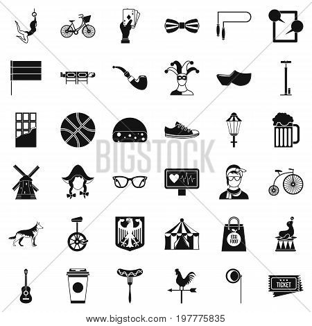 Bike icons set. Simple style of 36 bike vector icons for web isolated on white background