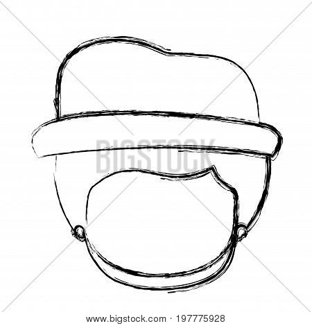 monochrome blurred silhouette of caricature faceless gut with hat and bearded vector illustration