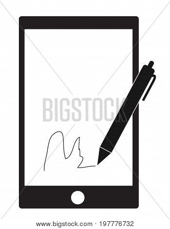 digital signature with stylus pen and mobile phone on white background. digital signature sign.
