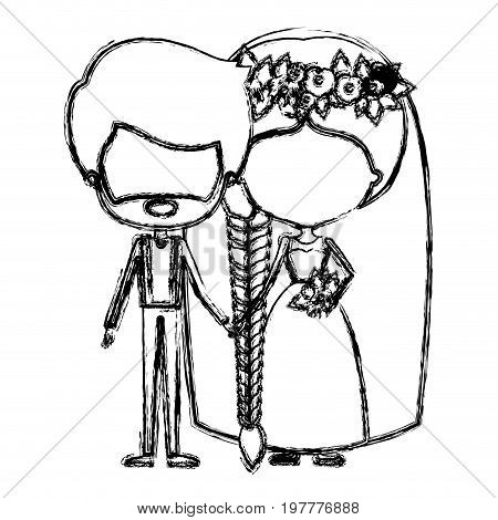 monochrome blurred silhouette of caricature faceless newly married couple groom with formal wear and bride with braids hairstyle vector illustration