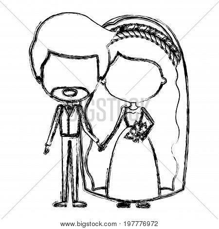 monochrome blurred silhouette of caricature faceless newly married couple groom with formal wear and bride with wavy long hairstyle vector illustration