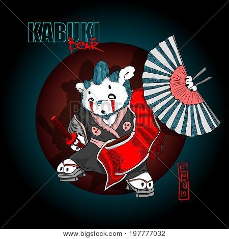 Kabuki bear spirit of samurai personage bear with makeup on face with sword and fan in hands possible use this dope vector illustration for t-shorts or stickers label poster etc. EPS 10