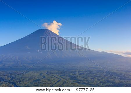 Mountain Fuji (Fujisan) in blue sky of summer time. Taken from Kawaguchiko lake