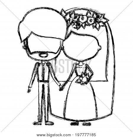 monochrome blurred silhouette of caricature faceless newly married couple bearded groom with formal wear and bride with straight medium hairstyle vector illustration