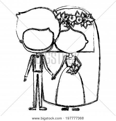 monochrome blurred silhouette of caricature faceless newly married couple groom with formal wear and bride with straight short hairstyle vector illustration