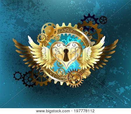 mechanical heart of the castle adorned with golden wings and gold and brass gears on a turquoise textured background. Mechanical heart. Steampunk style.
