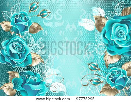 Turquoise lace background with turquoise roses decorated with leaves of white lace and white gold. Fashionable color. Turquoise roses. White gold. Blue tiffany.